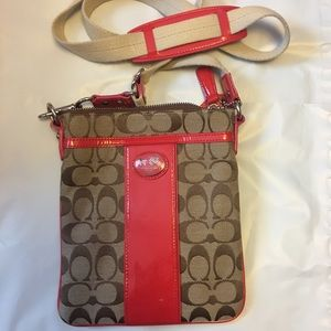 Coach Cross Body Woven/Patent Leather Bag
